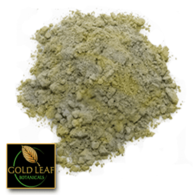Organic Golden Benulu Kratom Blend powder sold by Gold Leaf Botanicals.